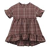 LEXUPE Bekleidung Kleinkind Kinder Baby Mädchen Kleidung Kurzarm Plaid Party Pageant Princess Dress