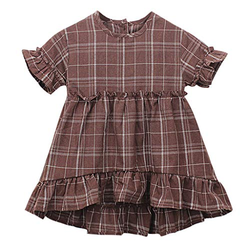 Schmetterling Mädchen Cap Sleeve T-shirt (DOLLAYOU Kleinkind Kinder Baby Mädchen Kleidung Kurzarm Plaid Festzug Prinzessin Kleid Sommer Urlaub Strand Party Casual Fashion Lovely Kleid Gr. 100 cm, Coffee)