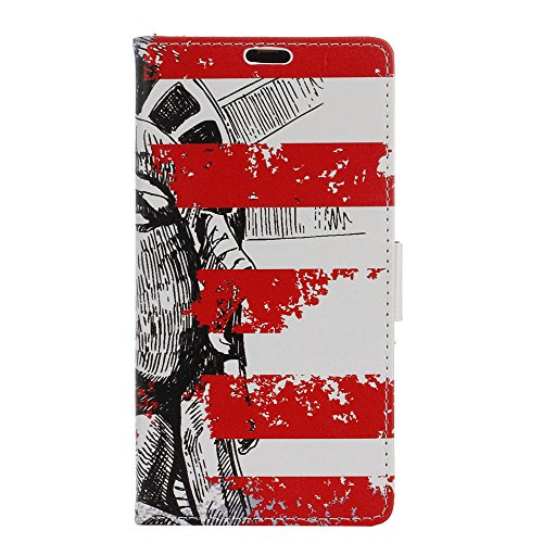 Casefashion LG X Power Custodia, Funzionale PU /Faux pelle Wallet Flip Phone Case Cover con Card Slot e Chiusura a calamita per LG X Power - Statue of Liberty - Completa Caso Visione Mostra