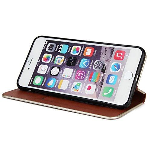 JAWSEU Coque Etui pour iPhone 6 Plus/6S Plus 5.5,iPhone 6S Plus étui Folio en Cuir,iPhone 6 Plus Flip Wallet Case Portefeuille Pu Housse de Protection,Retro Luxe Fermeture Magnétique Intense Pure Leat marron/Magnétique