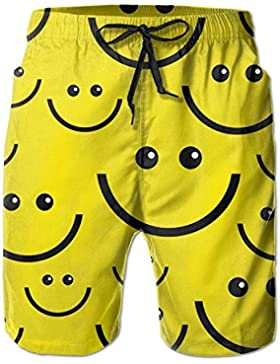 Funny Caps Smiley Face Men's/Boys Casual Shorts Swim Trunks Swimwear Elastic Waist Beach Pants with Pockets