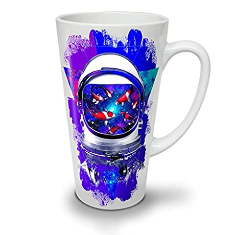 Space Fish Helm Fantasy White Ceramic Latte Mug 17 oz