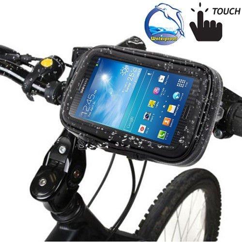 MM-Mobitec Wasserdichte Fahrradhalterung für Samsung Galaxy S7 Edge - Lenkradhalterung Motorradhalterung Drehbar 360 Grad in Schwarz