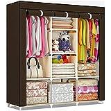 Shopper 52 Fancy & Portable Fabric Collapsible Foldable Clothes Closet Wardrobe Storage Rack Organizer Cabinet Cupboard Almirah 3 Door Wardrobe Collapsible Wardrobe (Brown) - 88130A-BR