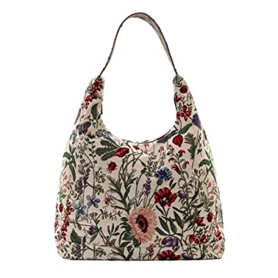 Signare Womens Tapestry Fashion Shoulder Bag/ Hobo Bag in Floral Morning Garden Design