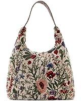 Signare Womens Tapestry Fashion Shoulder Bag/ Hobo Bag in Floral Morning Garden Design