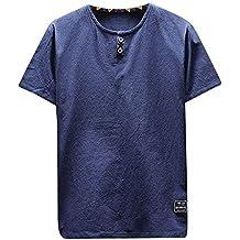 Waotier Camiseta De Manga Corta De Hombre Camiseta Casual De AlgodóN Y Lino con Manga Corta