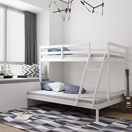 Bunk Bed, HST Mall Triple Bunk Bed Wooden Frame Triple Sleeper Bed in White for Children or Adults Bedroom Furniture