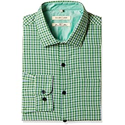 Excalibur Men's Formal Shirt (8907542558667_400016479690_42_Green)