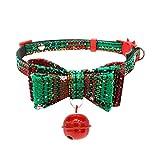 Winkey  Hundehalsband, Weihnachten Justierbares Hundehalsband mit Glocke, Hundewelpen-Haustier-Katzen-Kragen-Versorgungsmaterialien (M, Grün)