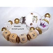 Cadena para chupete con nombres, diseño de El Principito, Prinz, corona, Baby, Oro de color blanco, niño regalo para nacimiento, Baby Party, Bautizo...