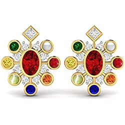 Vijisan Gemstone Collection 3.40 Ct.18K Yellow Gold Plated Silver Traditional Navratna Auspicious Stud Earrings For Women [AIPS0035ER]