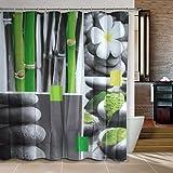 Cortina gruesa para ducha impermeable baño diseño piedras,caña de bambu y flor 180X180 incluye ganchos