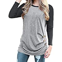 Geili Damen Blusen,Frauen Herbst Große Größe Langarm Oansatz Taste Design Bluse Color Block Tunika Pullover Tops... preisvergleich bei billige-tabletten.eu
