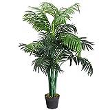 COSTWAY Arbre Artificiel Plante Artificielle en Pot Convient pour Intérieur ou Extérieur Palmier Aréca Vert 110cm