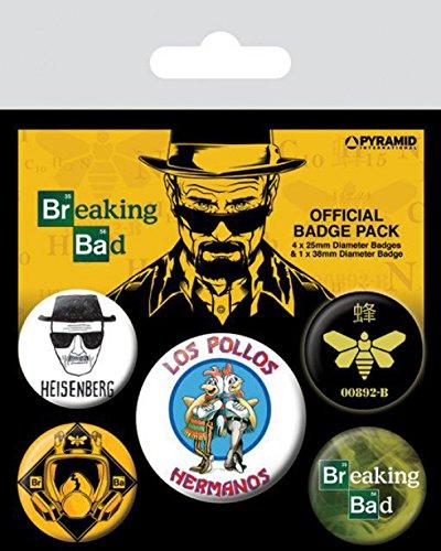 breaking-bad-los-pollos-hermanos-heisenberg-1-x-38mm-4-x-25mm-chapas-set-de-chapas-15-x-10cm