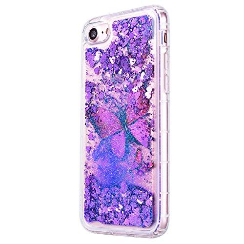 """Coque iPhone 7 (4.7"""")GrandEver Vert Liquide Sable Bling Glitter Antichoc Soft Kawaii en Silicone Gel été étui Femme Case avec Bumper pour iPhone 7 (4.7"""") -- Herbe Motif 4"""