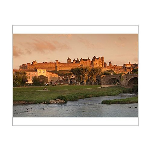 20x16 Print of La Cite, medieval fortress city, bridge over River Aude, Carcassonne (11703012)