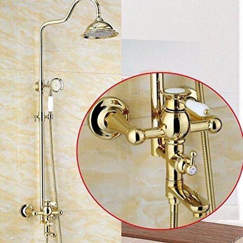 Hlluya Wasserhahn für Waschbecken Küche Vergoldet, Dusche mit abnehmbarem Duschkopf Set Bad Warm- und Kaltwasser Dusche Wasserhahn