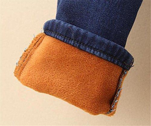 Byjia Damen Jeans Verdickt Und Auf Keep Warm Gummizug In Der Taille Lange Lose Volltonfarbe Lässige Denim Stretch Hose deep blue