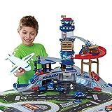 Siyushop Súper Juguetes de Garaje, Juego de Modelo de Aeropuerto de Sonido y luz, Aviones de aleación, Juguetes de estacionamiento para niños