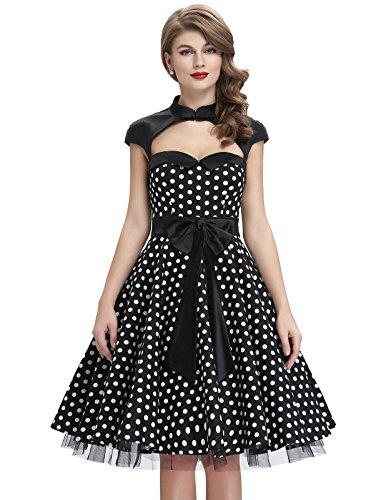50er rockabilly kleid polka dots kleid knielang partykleider cocktailkleider L BP031-1 (Schwarz-abschlussball-kleider Lange Unter $50)