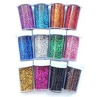 12 botellas purpurina polvo brillo con difrentes colores,HC Enterprise-V024
