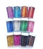 12bottiglie glitter polvere lucido con difrentes colori, HC enterprise-v024