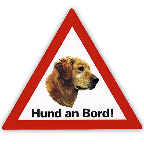 Schecker Auto Aufkleber Golden Retriever Hund an Bord inkl. 4 World Sticker Aufkleber Golden Retriever