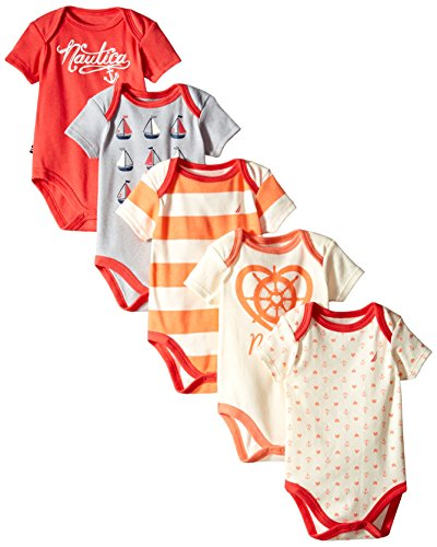 nautica-baby-girls-red-orange-anchor-boat-stripe-print-5-pcs-onesie-set-3m