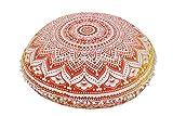 """Ombre Mandala Kissen- 32 """", große Bodenkissen, Boho Dekorative Kissen, Indian Round Pouf Ottomane, Pom Pom Außenkissenbezug, Roundie Kissen Shams"""