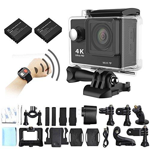 Tufen 4K Actionkamera, 12MP, WiFi, wasserdichte Sportkamera, unterstützt Ultra-HD, 2,7K, 1080 P Video, 2.4G kabellose RF-Fernbedienung, inklusive zwei Batterien, wasserdichter Hülle und Zubehör, Schwarz
