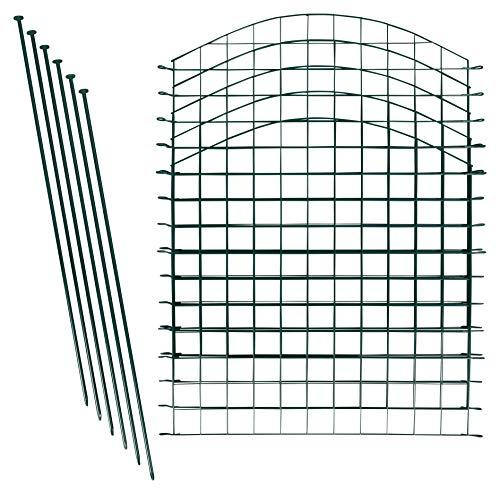 1PLUS Teichzaun Set/Komplett-Set in verschiedenen Verpackungseinheiten und Formen - Sparset mit Oberbogen oder Unterbogen (10x Oberbogen, Grün)