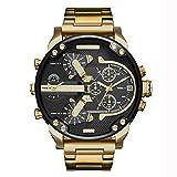 Herrenuhr Quarz Casual Uhr Mode Stahlgürtel Uhr Kalender Echte Streifen Armbanduhr - Batterie Enthalten (Gold)