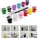 Bluelover Ensemble de peinture en acrylique à ongles 3D 12 couleurs avec stylo à brosse à ongle