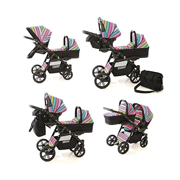 Double pram for twins. 2 carrycots + 2 buggies + 2 car seats. Multicolour. BBtwin Berber Carlo Directly from the factory, warranty and advice. Made un the EU according to the regulations EN1888 and ECE44/04. Multicolour. Includes 2 carrycots, 2 buggy seats, 2 car seats, bag, 2 footcovers, 2 rain covers, 2 mosquito nets, lower basket. Features: lightweight aluminium frame, easy bending, adjustable handlebar, central brake, lockable front swivel wheels, shock absorbers, each buggy can be instaled independently in both directions, carrycots with a mattress and a washable cover, backrest adjustable in various positions, safety bar and harness of 5 points 7