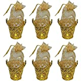 Baal Set Of 6 Pcs Designer Golden Decorative Potli Bucket For Chocolates And Candies For Kids Return Birthday Gift, Golden, 25 Grams, Pack Of 1