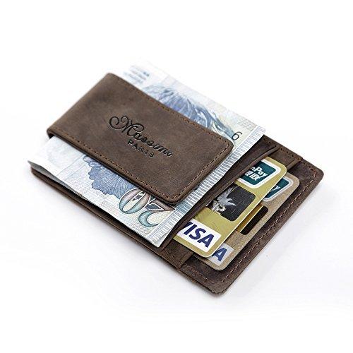 inklammer RFID Schutz Ausweisetui Kreditkartenetui PORTEMONNAIE Klein Kreditkartenhülle Klip Magnet(Kaffee) (Würde Sie Eher Für Kinder)
