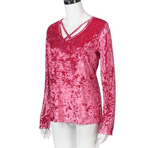 Camicia Donna,Kword Donna Primavera Solid Benda Camicetta Camicia Casual Manica Lunga Da Festa Casual Con Colletto Top Camicetta Cime Rosa
