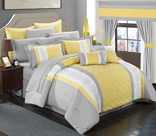 Chic Home 24 Piece Danielle Complete Pintuck Embroidery Color Block Bedding, Sheets, Window Panel Collection Bed in a Bag Comforter Set, King, Yellow by Chic Home -