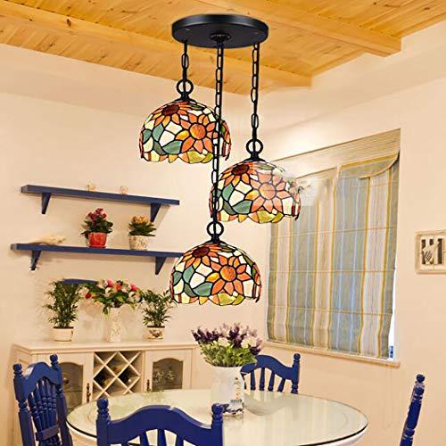 Tiffany-stil-bar (Mittelmeer Kronleuchter Tiffany Stil 3 Lichter hängen Leuchte moderne Vintage Bar Lampe für Wohnzimmer Esszimmer Schlafzimmer)