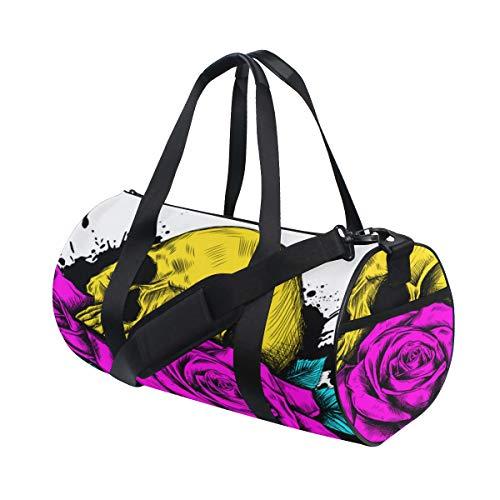(Blumen Rose Zucker Schädel Benutzerdefinierte Multi Leichte Große Yoga Gym Totes Handtasche Reise Leinwand Duffel Taschen Mit Schulter Crossbody Fitness Sport Gepäck Für Jungen Mädchen Herren Frauen)