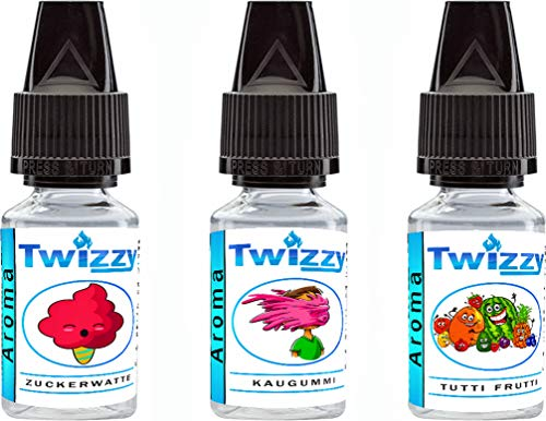 3 x 10ml Twizzy Sticky Fun Aroma Bundle | Zuckerwatte, Kaugummi, Tutti Frutti | Aroma für Shakes, Backen, Cocktails, Eis | Aroma für Dampf Liquid und E-Shishas | Ohne Nikotin 0,0mg | Flav Drops