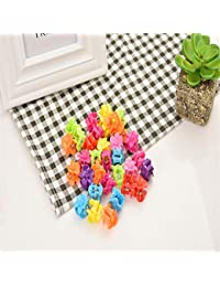 C.S COLLECTION Rose Flower Mini Hair Claw Clip Hair Pin For Little Girls Random Assorted Colored, 25 Piece