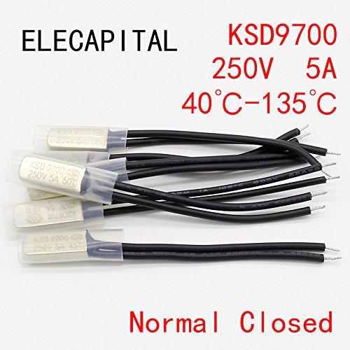 2 UNIDS KSD9700 250V 5A N/A Interruptor de temperatura de disco bimetálico...