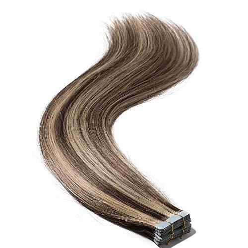 Extension capelli veri biadesivo meches - 35cm 40g 20 ciocche - 100% remy human hair umani lisci, 4/27 marrone cioccolato con biondo scuro