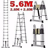 Aurora Double Telescopic Aluminium ladder 5.6 meter (19 feet) - Stores at 3.5 feet - A Frame 9 feet - Wall Support 19 feet - , Mag Hinge & Dual Ultra Stabilizer - Ultra portable
