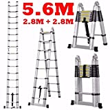 #3: Aurora Double Telescopic Aluminium ladder 5.6 meter (19 feet) - Stores at 3.5 feet - A Frame 9 feet - Wall Support 19 feet - , Mag Hinge & Dual Ultra Stabilizer - Ultra portable