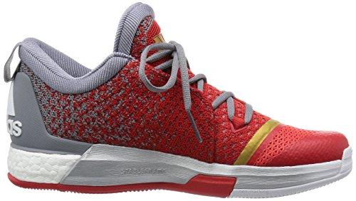 adidas Herren Crazylight Boost 2.5 Low Basketballschuhe Weiß / Grau / Rot (Ftwbla / Grau / Rojint)