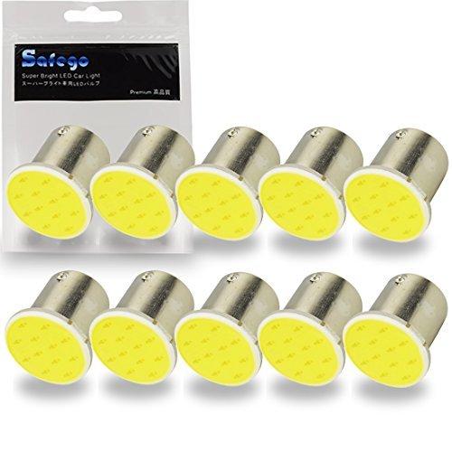 Safego 10 x 1156 LED COB 1.5W Bombilla de Luz de Coche BA15S P21W 12-cob Luz de La Cola Blanca 6000K 12V